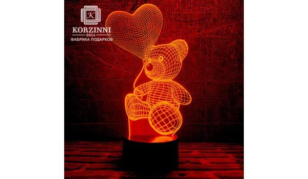"""3D светильник """"Мишка"""""""