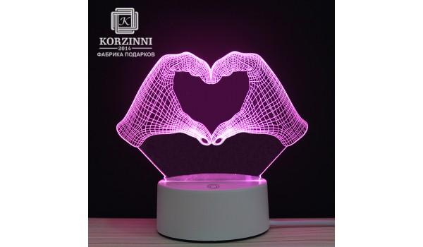 "3D светильник ""Heart"""